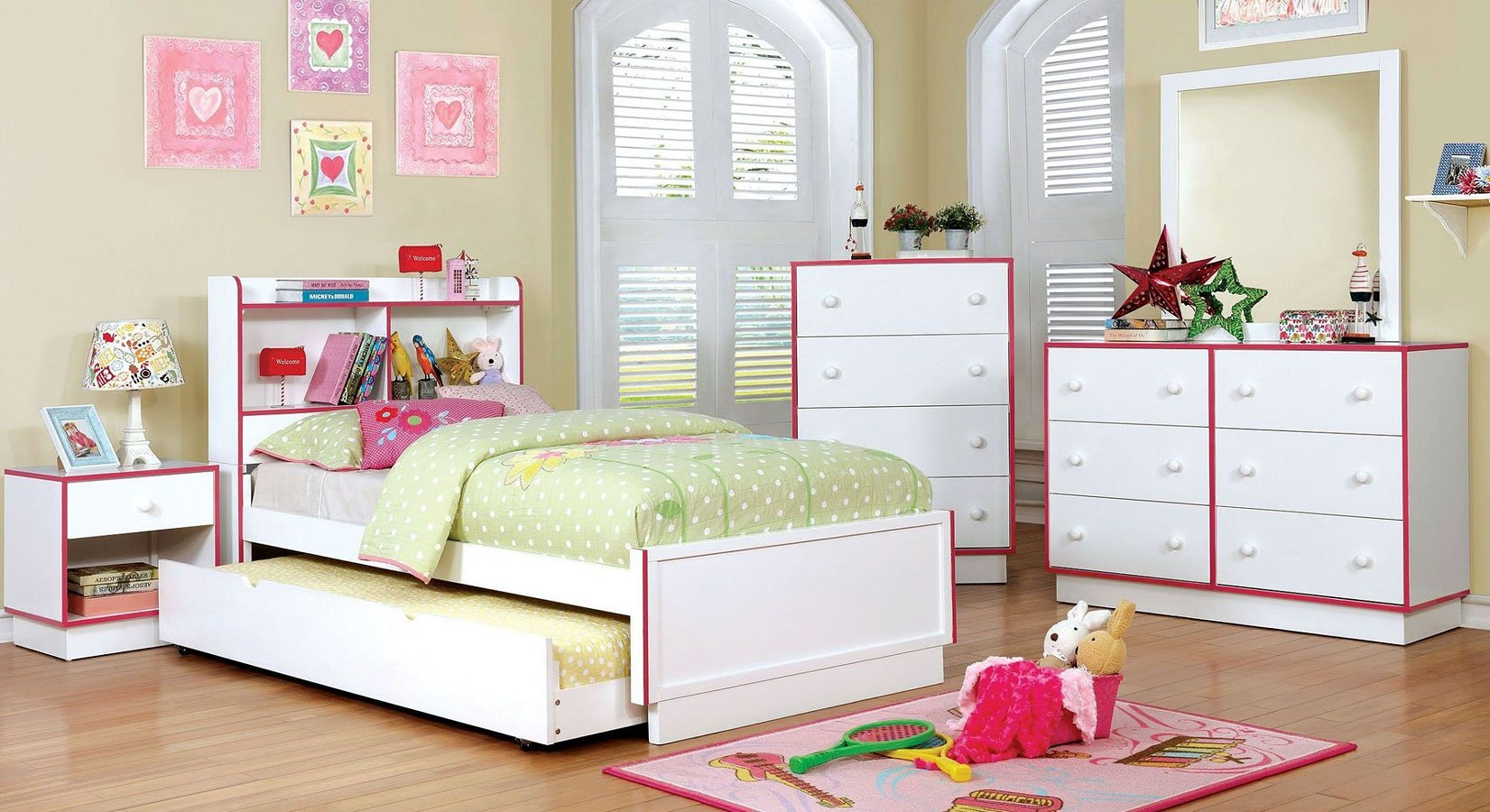 bobbi pink and white youth bedroom set furniture of 19464 | cm7852pk br set 1
