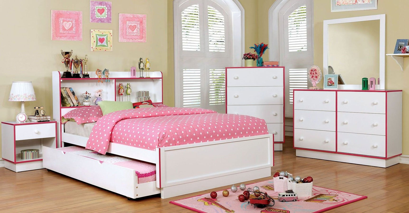 bobbi pink and white youth bedroom set furniture of 19464 | cm7852pk br set 2