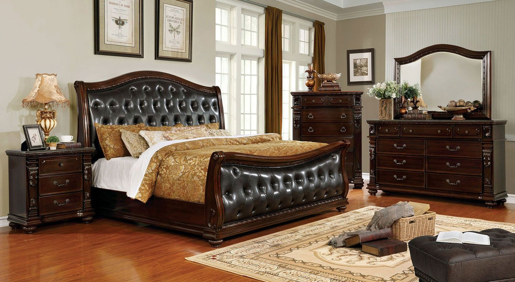 Fort Worth Sleigh Bedroom Set Furniture Of America