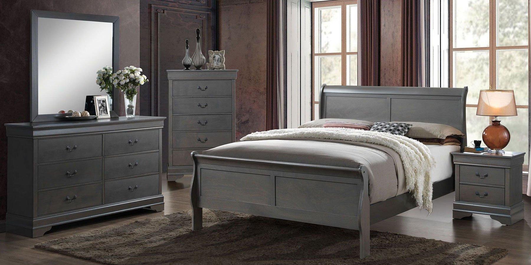 Louis Philippe Bedroom Set (Gray)