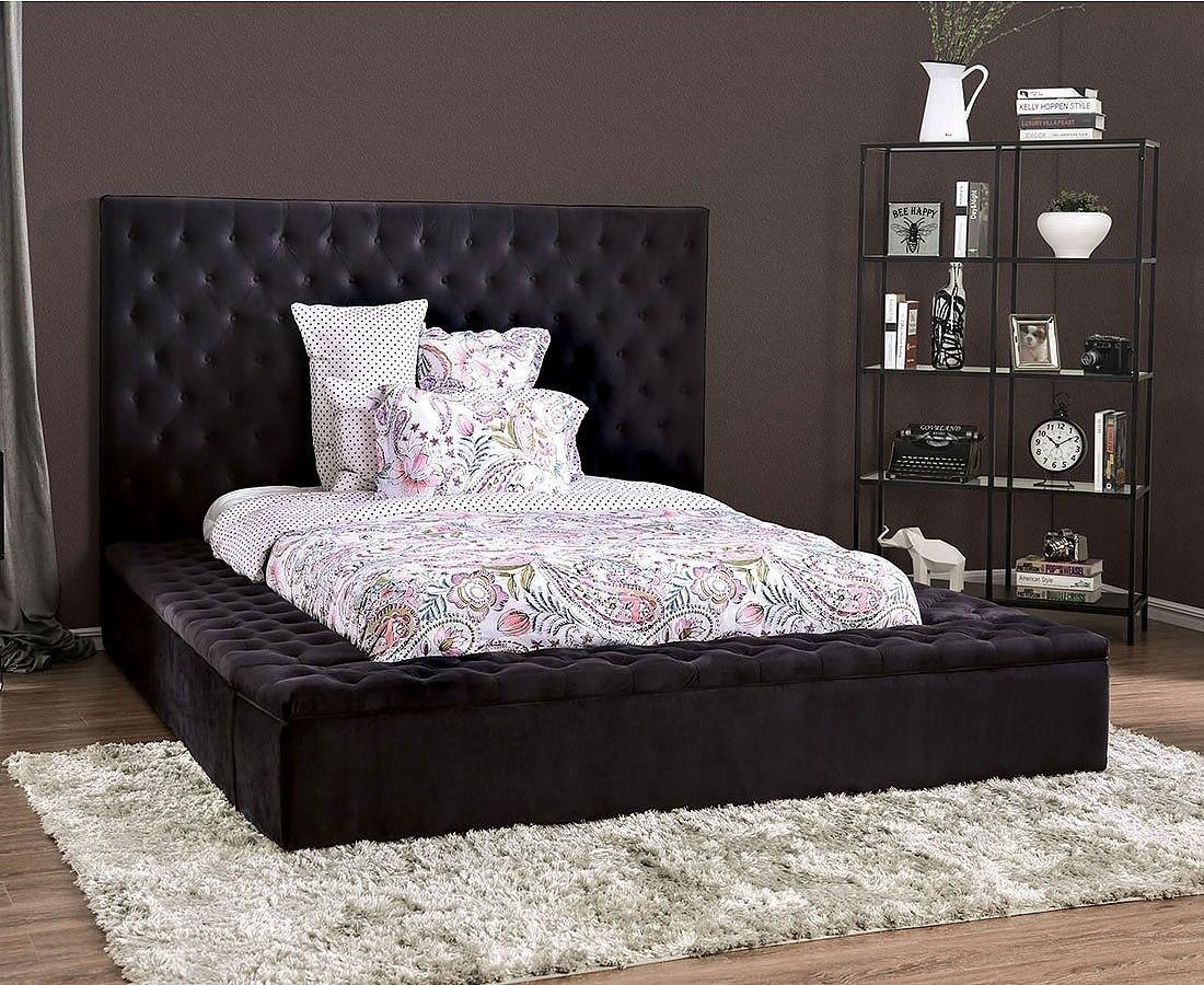 Davida Upholstered Bed Black Furniture Of America Furniture Cart
