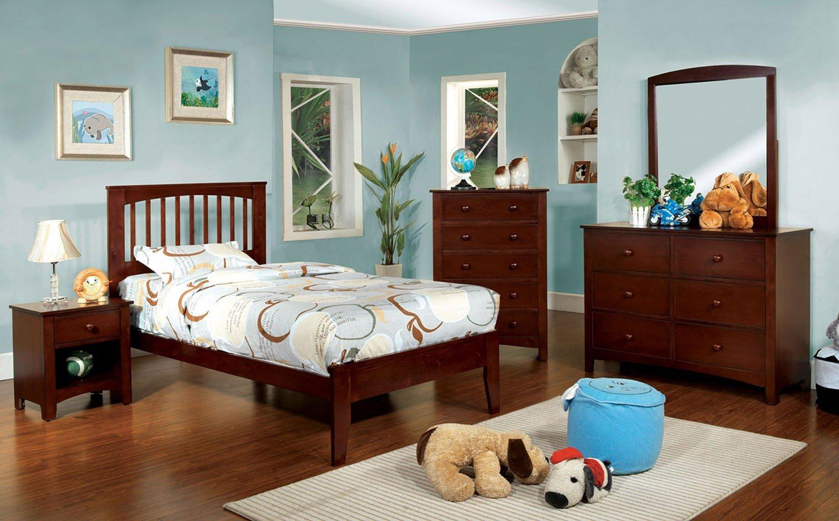 Omnus youth bedroom set w pine brook bed cherry - Childrens pine bedroom furniture ...