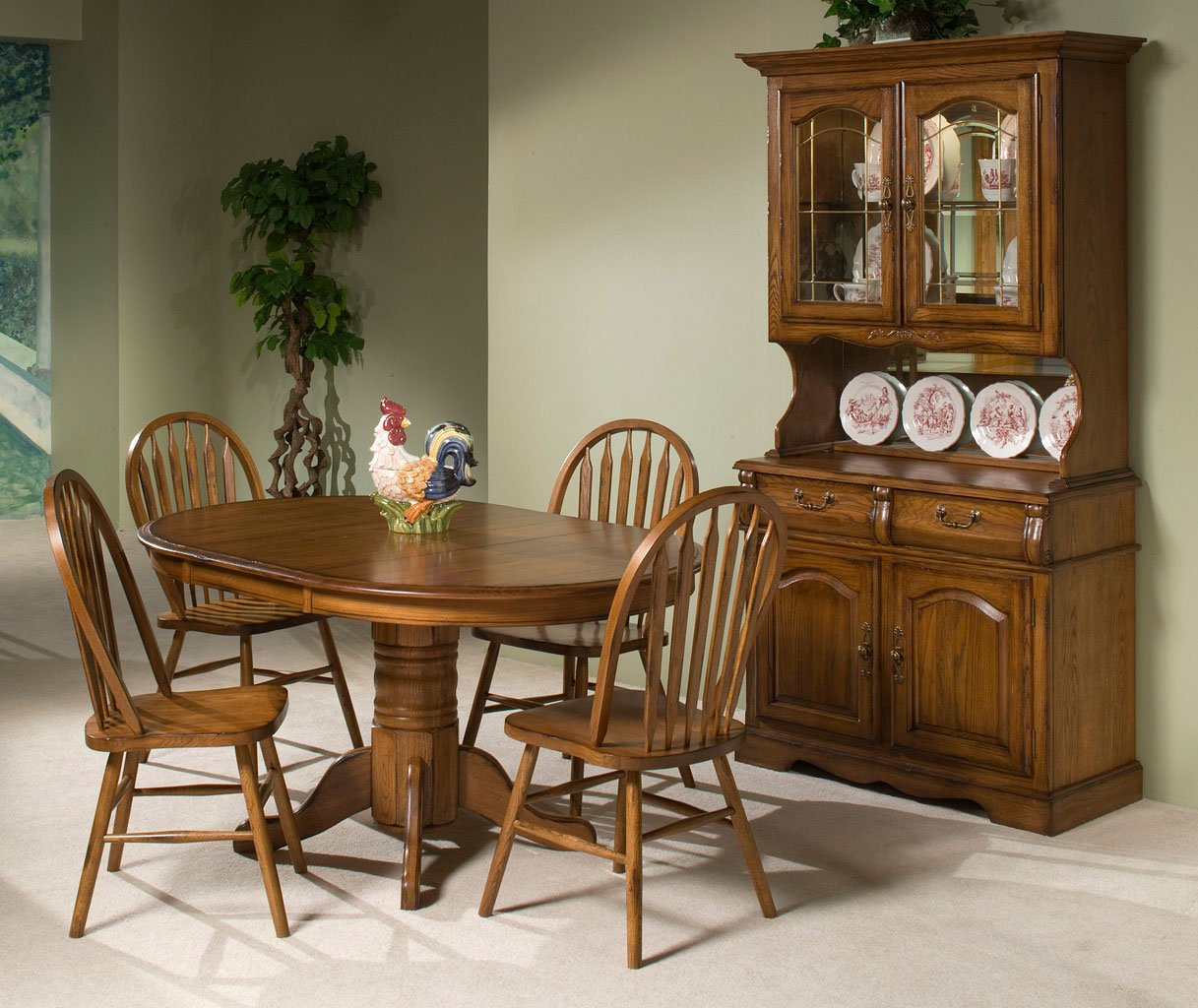 Oak Dining Room Furniture: Classic Oak Round Dining Room Set (Burnished Rustic