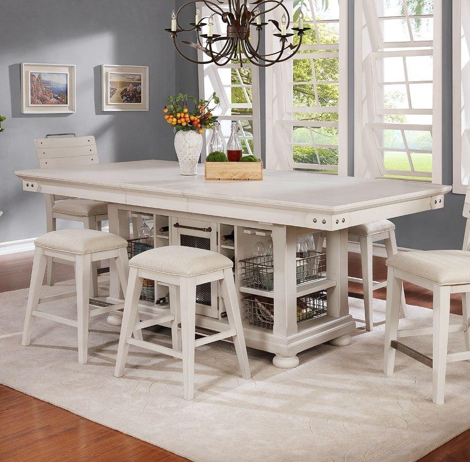 Kitchen Island Chair: Vintage Americana Kitchen Island (Brushed White) Avalon