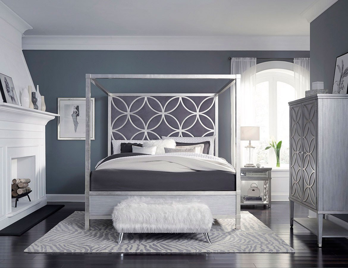 City Chic Silver Leaf Canopy Bedroom Set