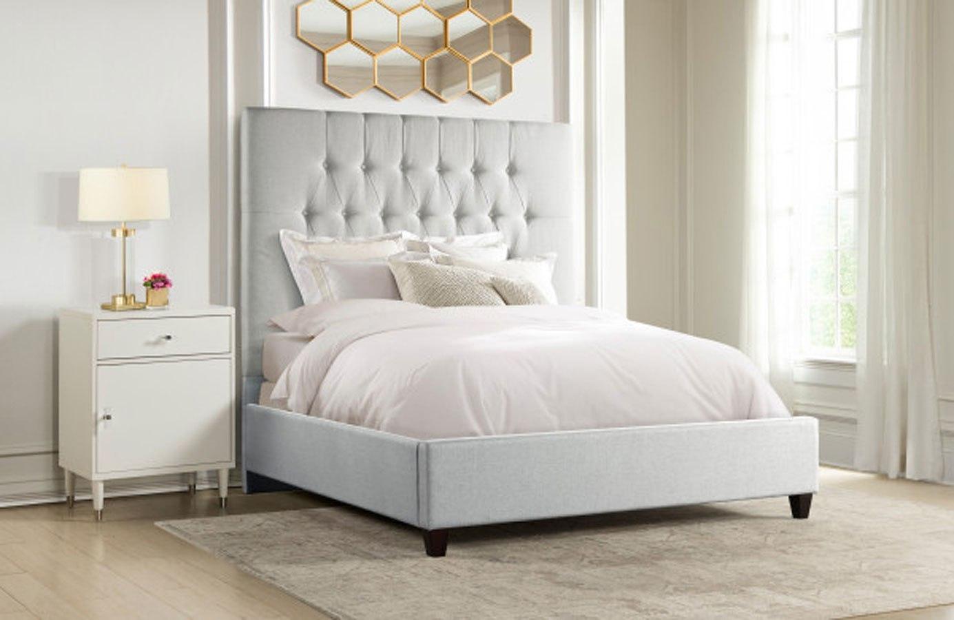 City Chic Diamond Tufted Panel Bedroom Set (Light Grey) Accentrics Home    Furniture Cart