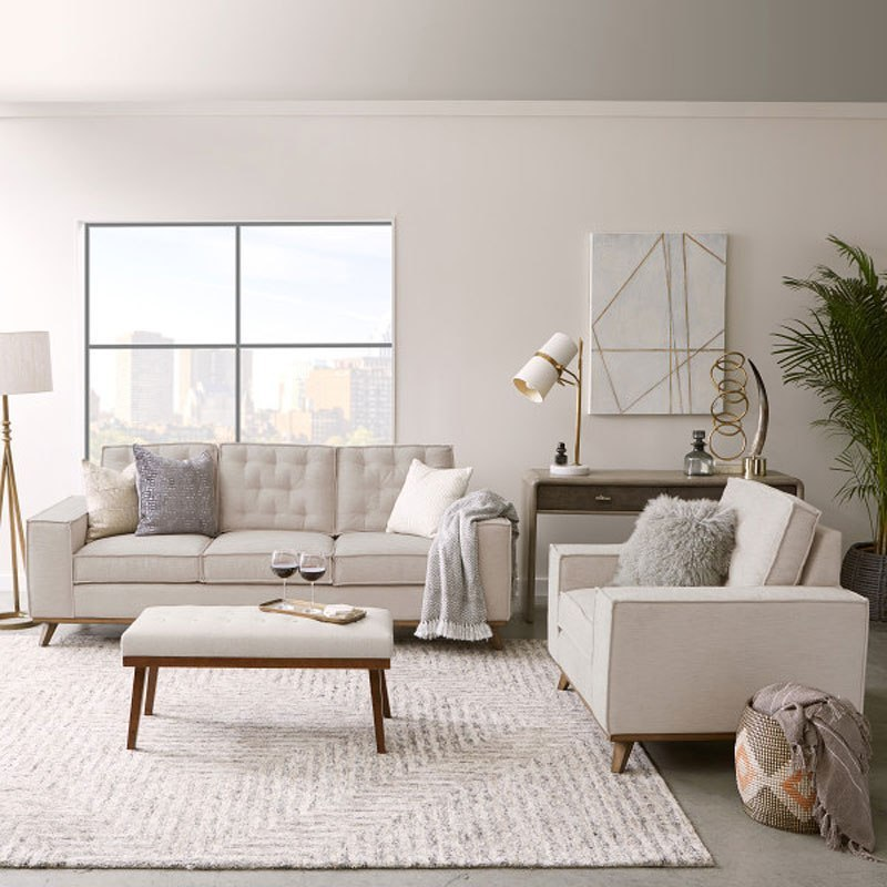 Modern Authentic Farmhouse Flange Welt Living Room Set