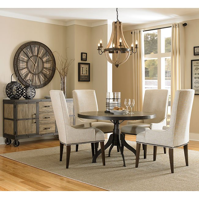 Walton Round Dining Room Set w/ Upholstered Chairs