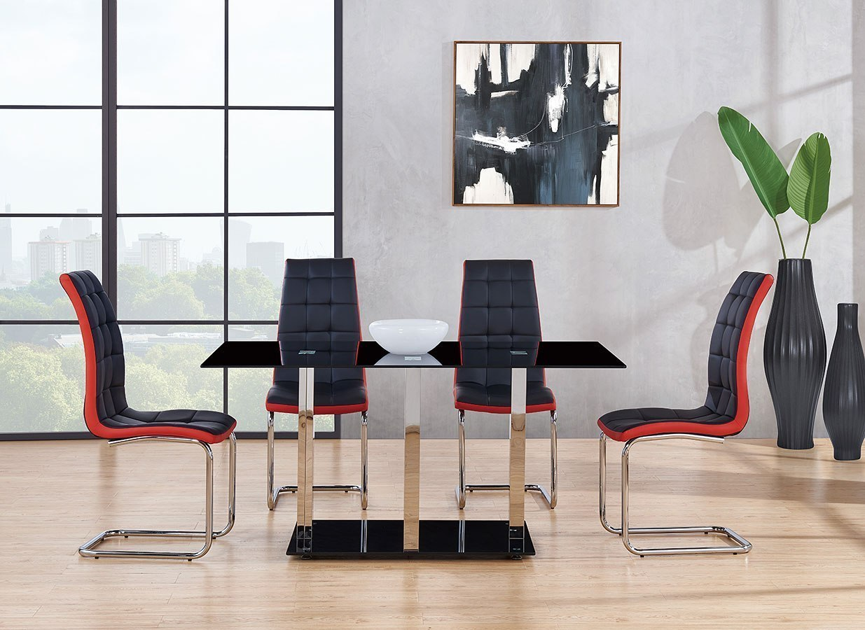 D252 Dining Room Set W/ Black And Red Chairs Global Furniture ...