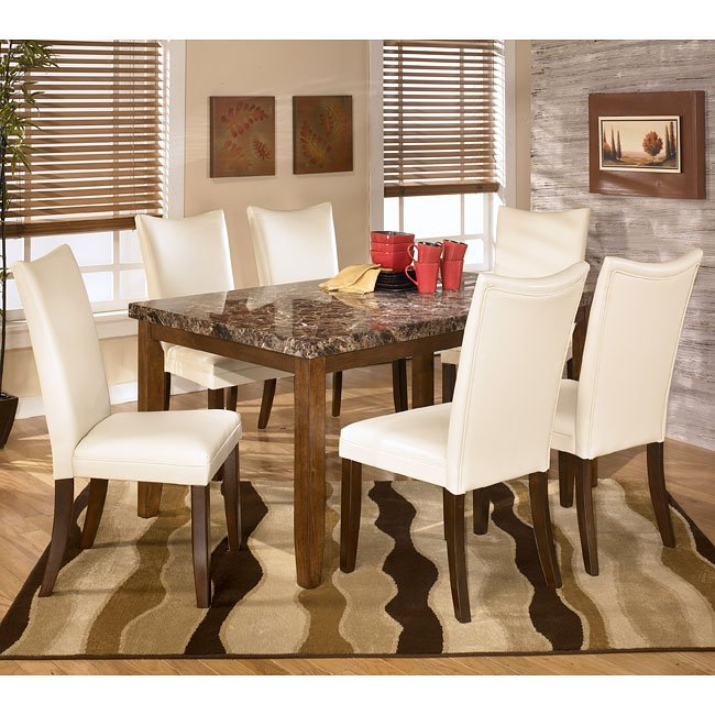 Lacey Dining Room Set With Charrell Ivory Chairs Signature