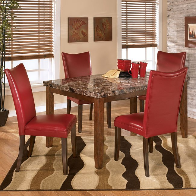 Lacey Dining Room Set With Charrell Red Chairs Signature