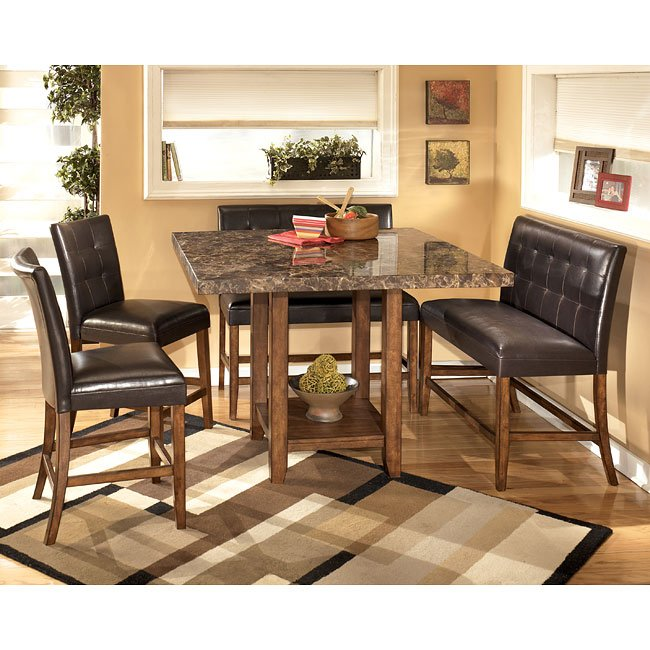 Lacey Counter Height Dining Room Set With Double Stools Signature Design
