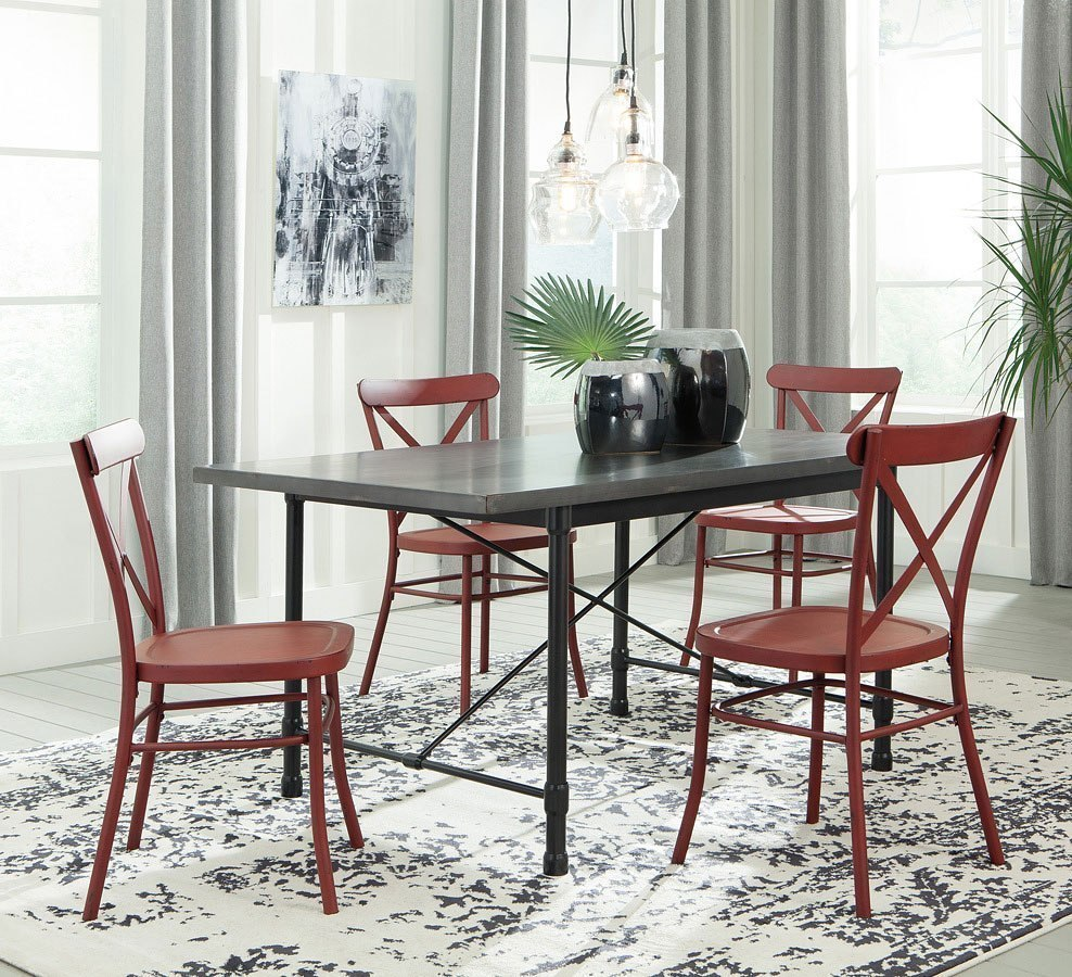 Red And Black Dining Room Sets: Minnona Rectangular Dining Room Set W/ Red Chairs