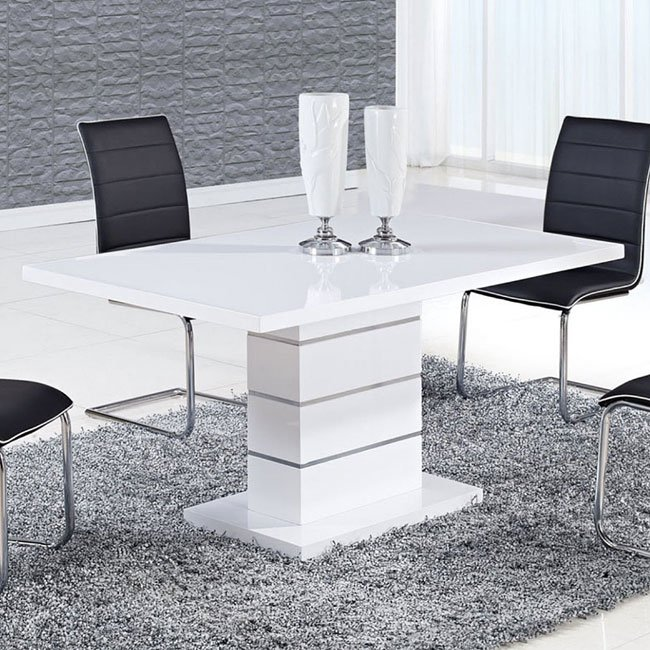 D470 High Gloss White Dining Table