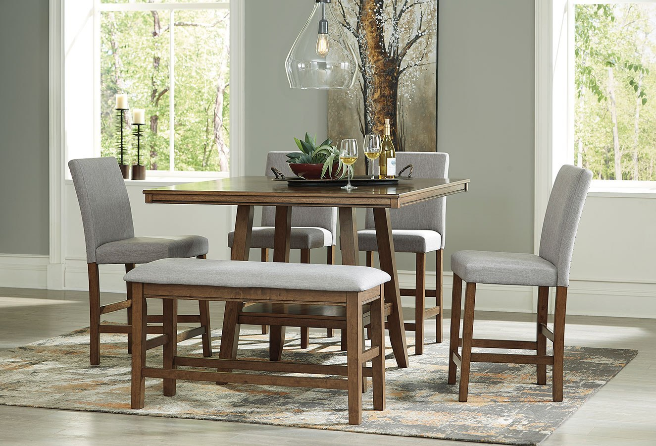 Glennox Counter Height Dining Set W Bench Benchcraft Furniture Cart