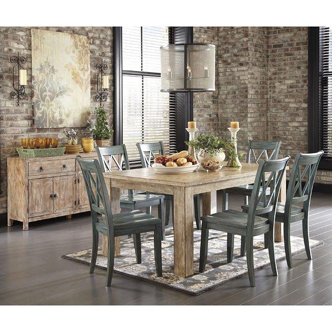 Mestler Antique Blue/ Weathered Pine Dining Set