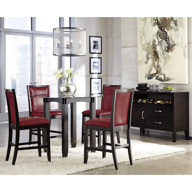 Trishelle Counter Height Dining Set W/ Red Chairs