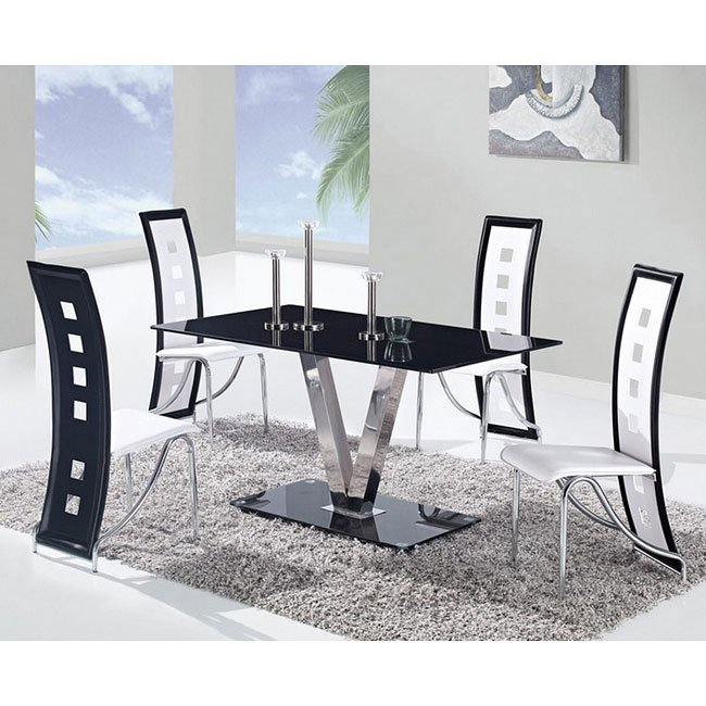 Black And White Dining Room Set: D551 Dining Room Set W/ White And Black Trim Chairs Global