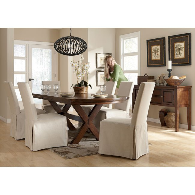 Slipcovers Ashley Furniture: Burkesville Dining Room Set W/ Flax Slipcover Chairs