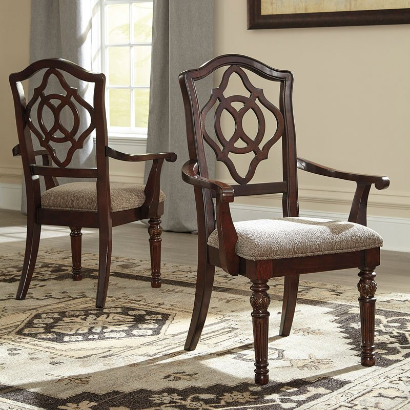 Leahlyn Reddish Brown Arm Chair Set Of 2: Leahlyn Reddish Brown Arm Chair (Set Of 2) Signature