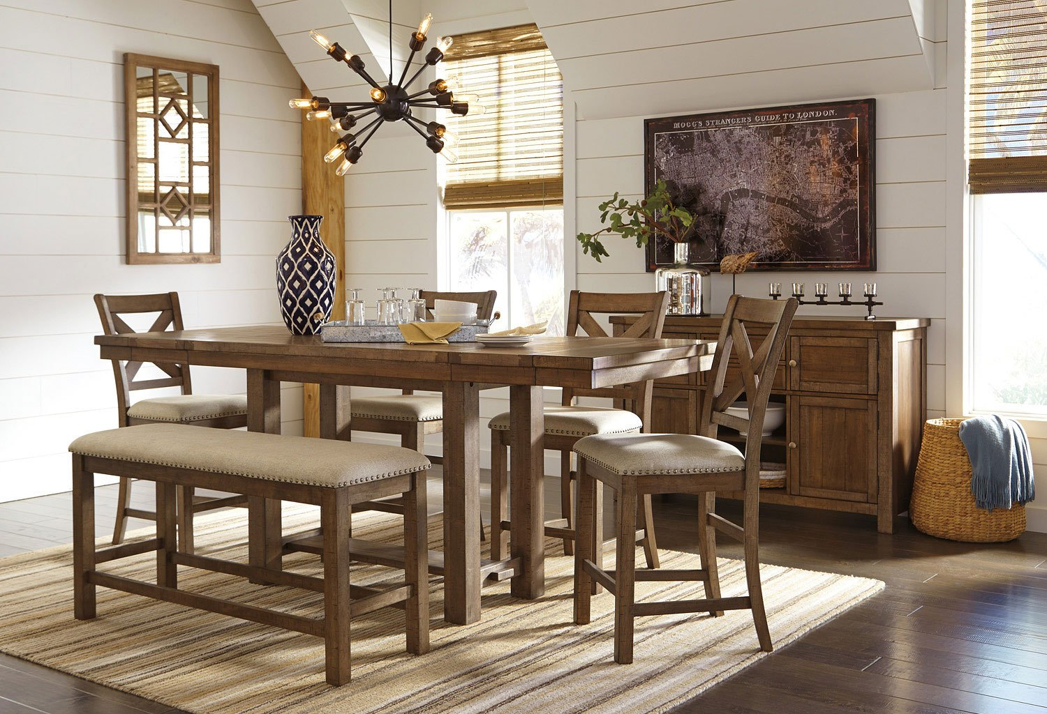 Moriville Counter Height Dining Set W/ Bench