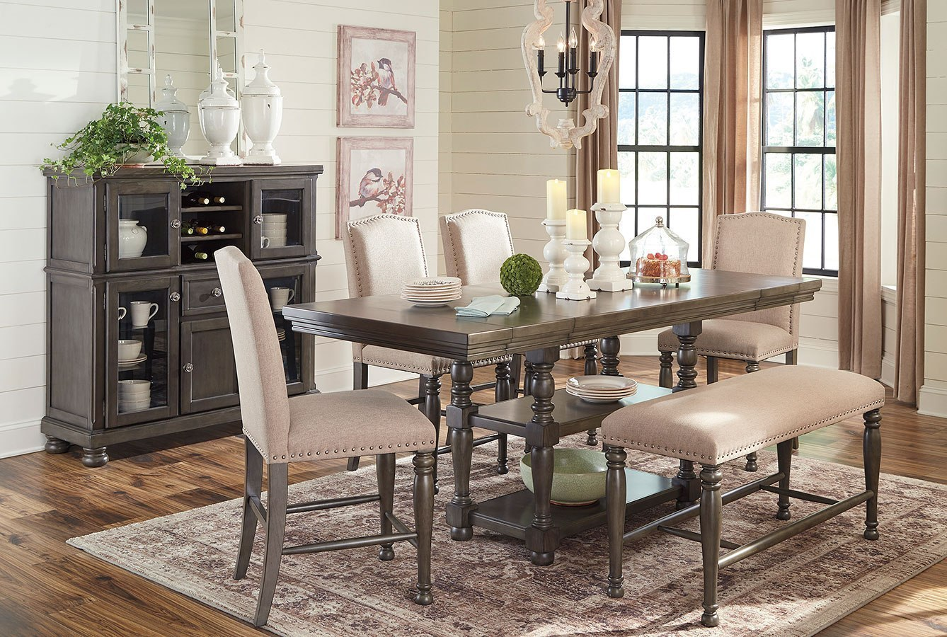 Audberry Counter Height Dining Room Set W Bench Signature