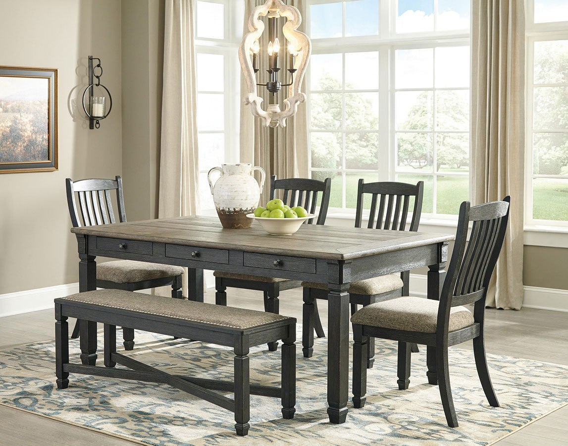 Tyler Creek Rectangular Dining Set W/ Bench Signature ...