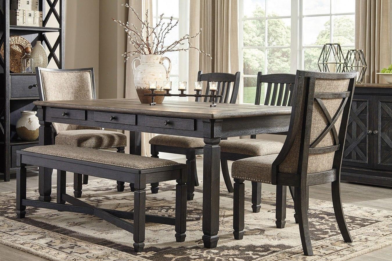 Tyler Creek Rectangular Dining Set W/ Upholstered Chairs ...