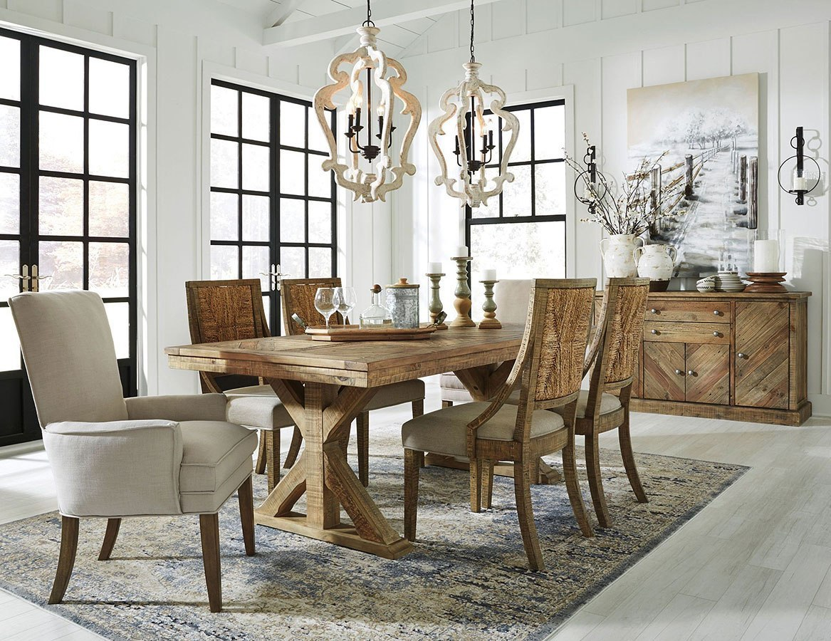 Grindleburg Dining Room Set W/ Light Brown Chairs