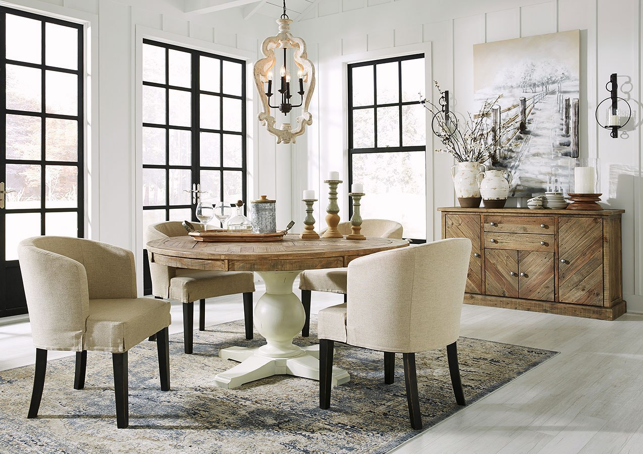 Grindleburg Round Dining Room Set W/ Low Back Chairs ...