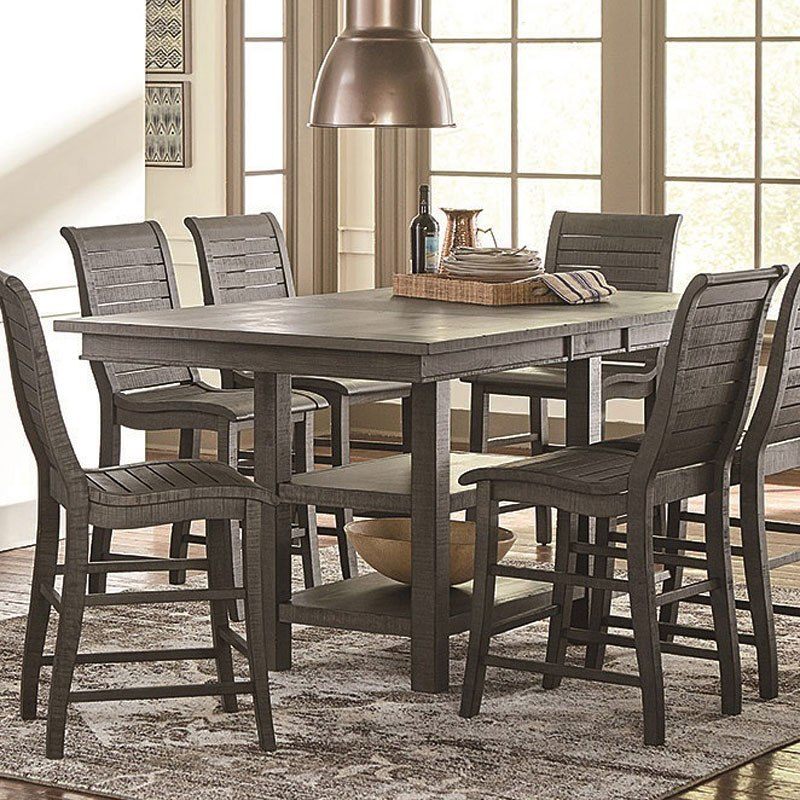Willow Rectangular Counter Height Table (Distressed Gray)