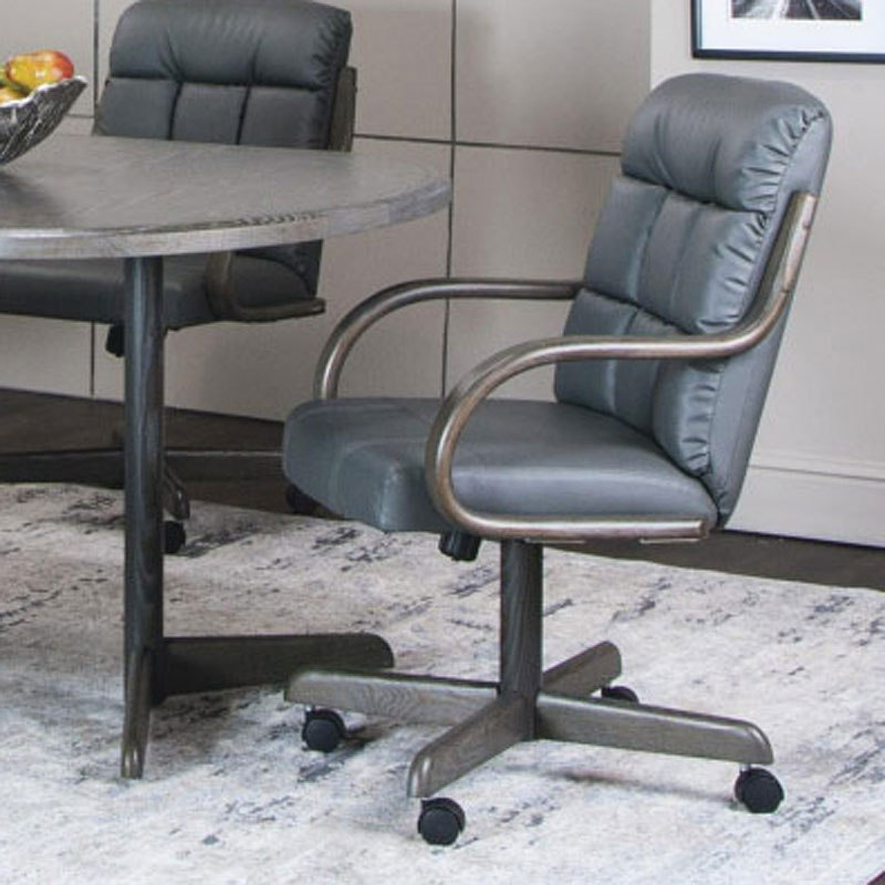 Mercury Charcoal Bonded Leather Swivel Chair (Set Of 2)