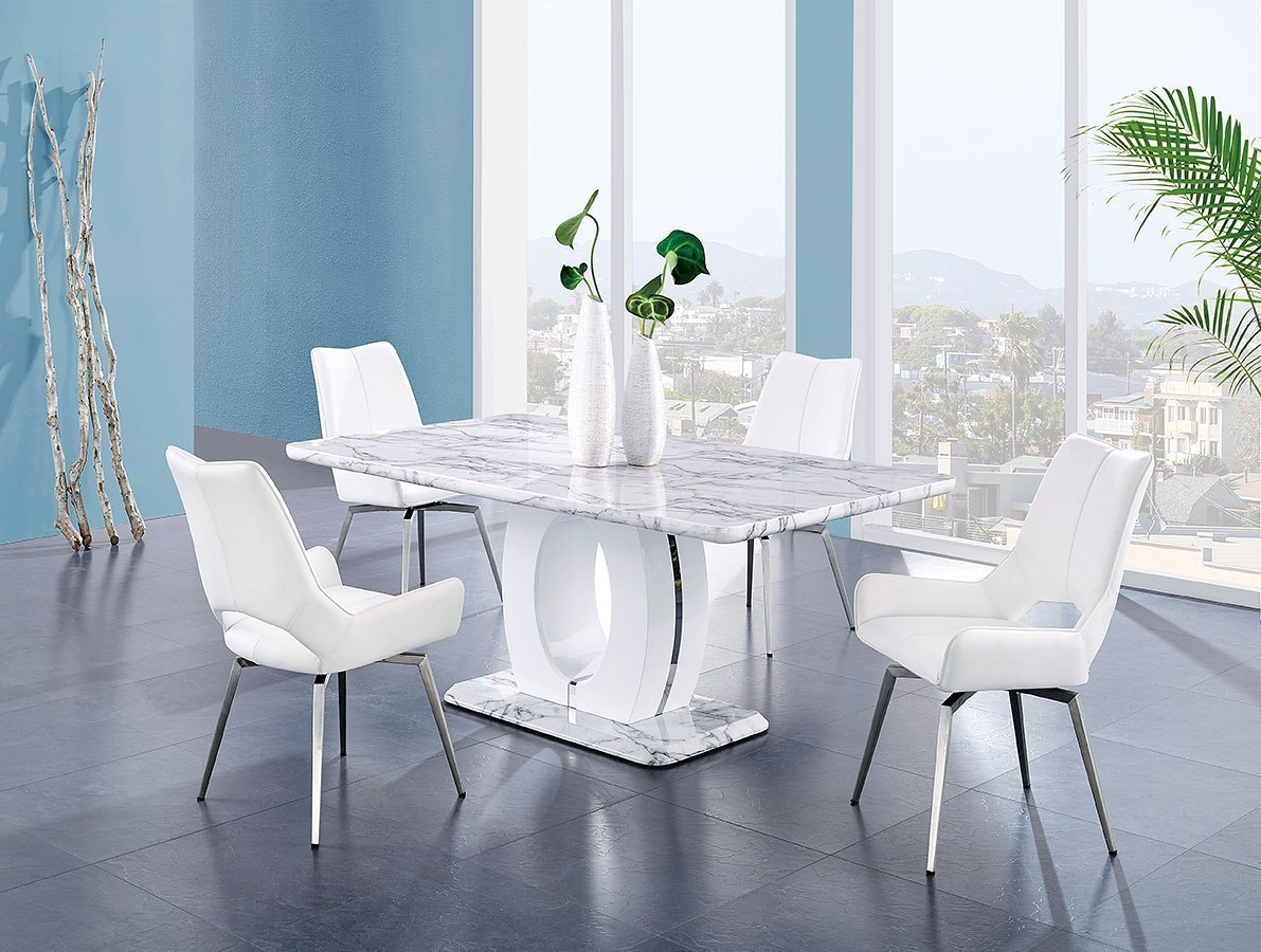D894 Dining Room Set W/ White Swivel Chairs Global Furniture | Furniture Cart & D894 Dining Room Set W/ White Swivel Chairs Global Furniture ...