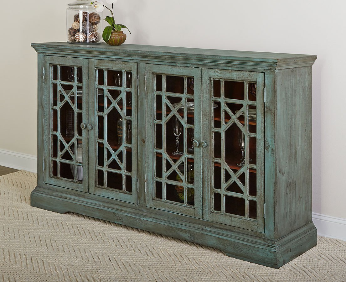 Rustic Collectibles 4 Door Sideboard (Distressed Blue)