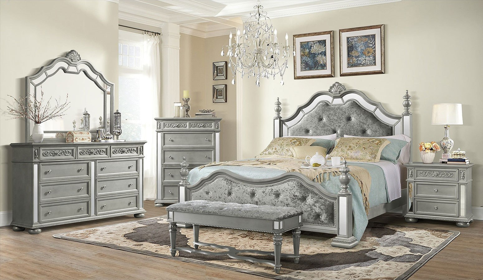 Diana Poster Bedroom Set Silver Global Furniture Furniture Cart