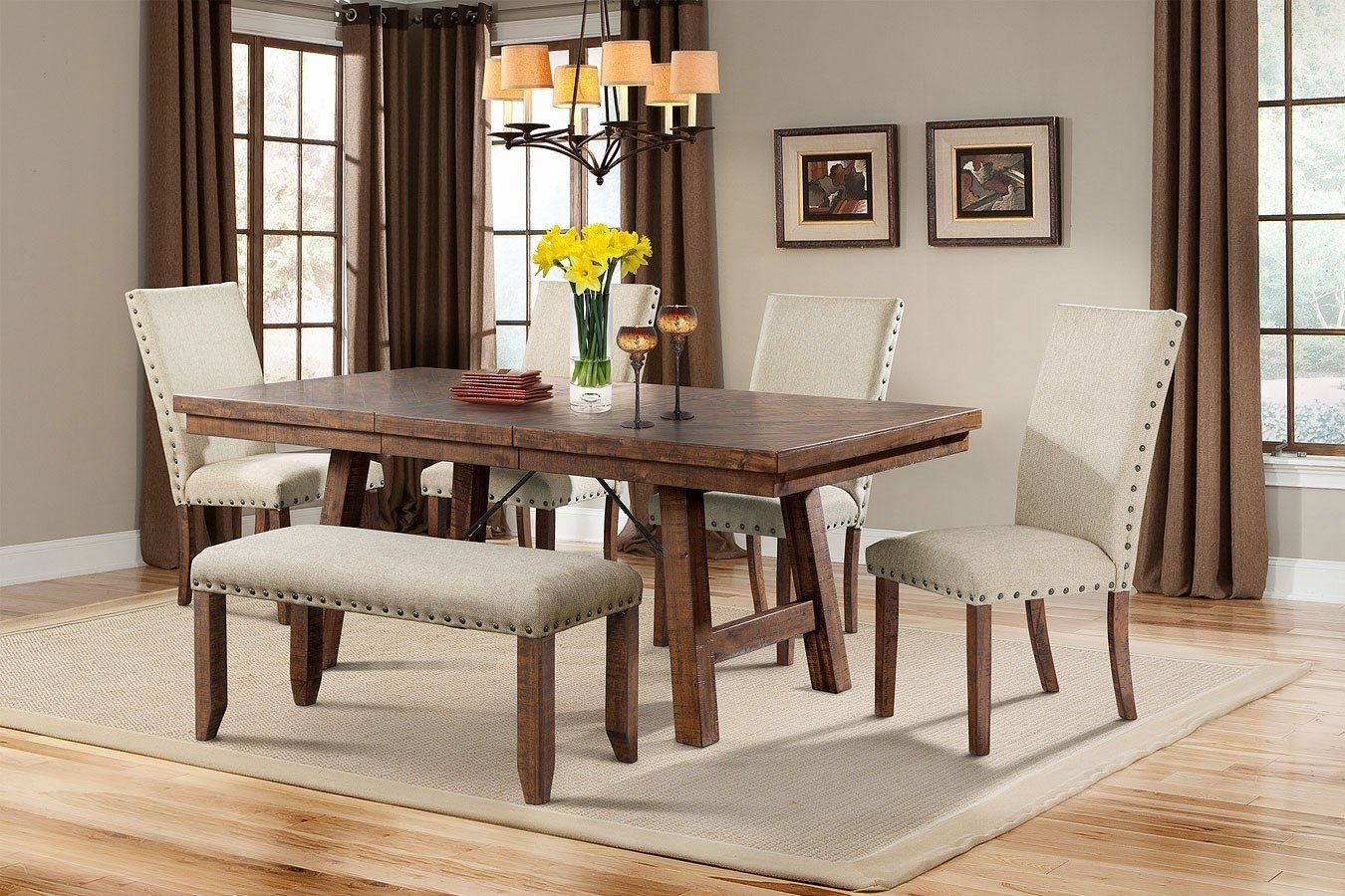 Jax Dining Room Set W/ Upholstered Chairs And Bench ...