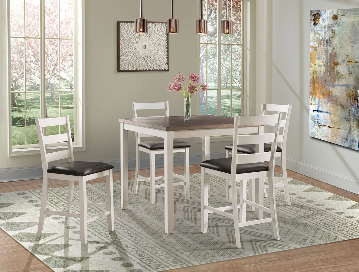 Martin 5 Piece Counter Height Dining Set Brown White Elements Furniture Furniture Cart