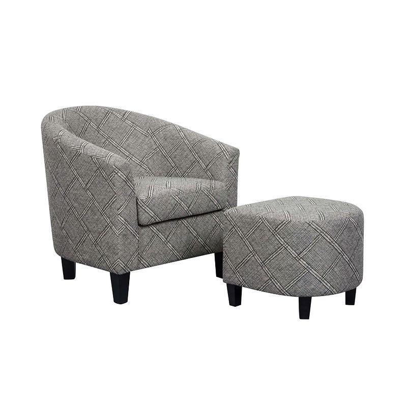 Small Space Barrel Chair W Ottoman Black White