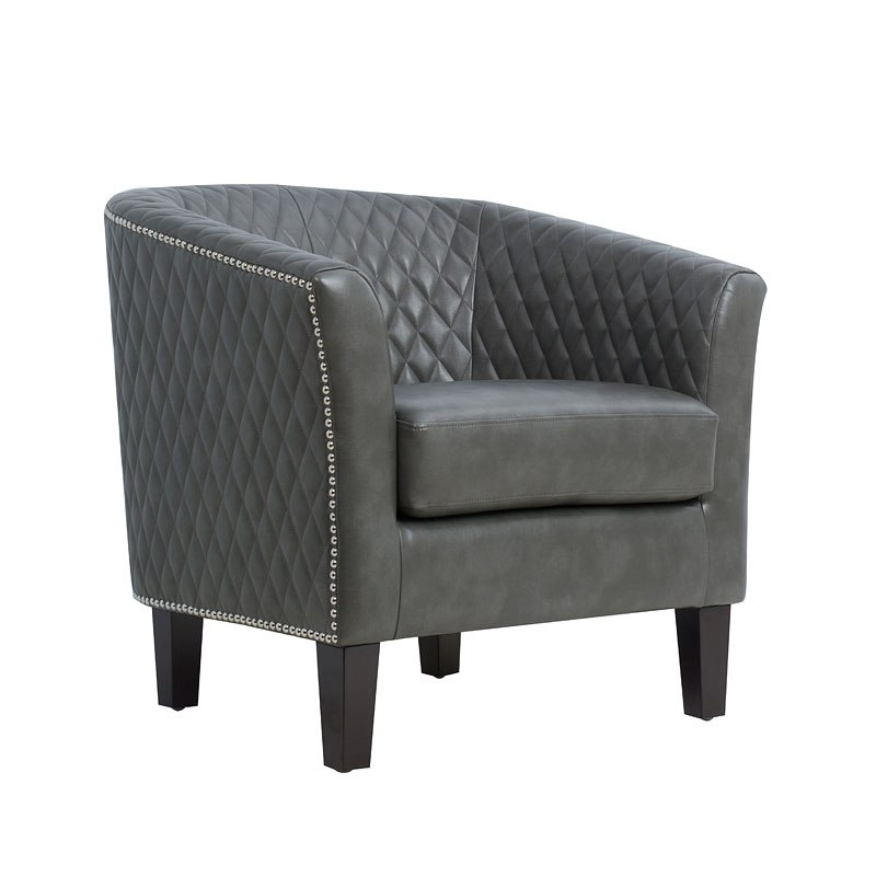 Small Accent Couch: Small Space Quilted Barrel Gray Accent Chair Accentrics