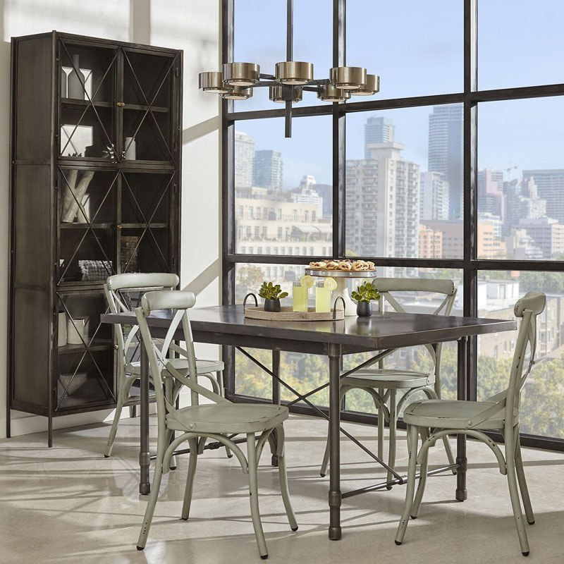 Industrial Metal Top Dining Room Set W/ Blue Chairs