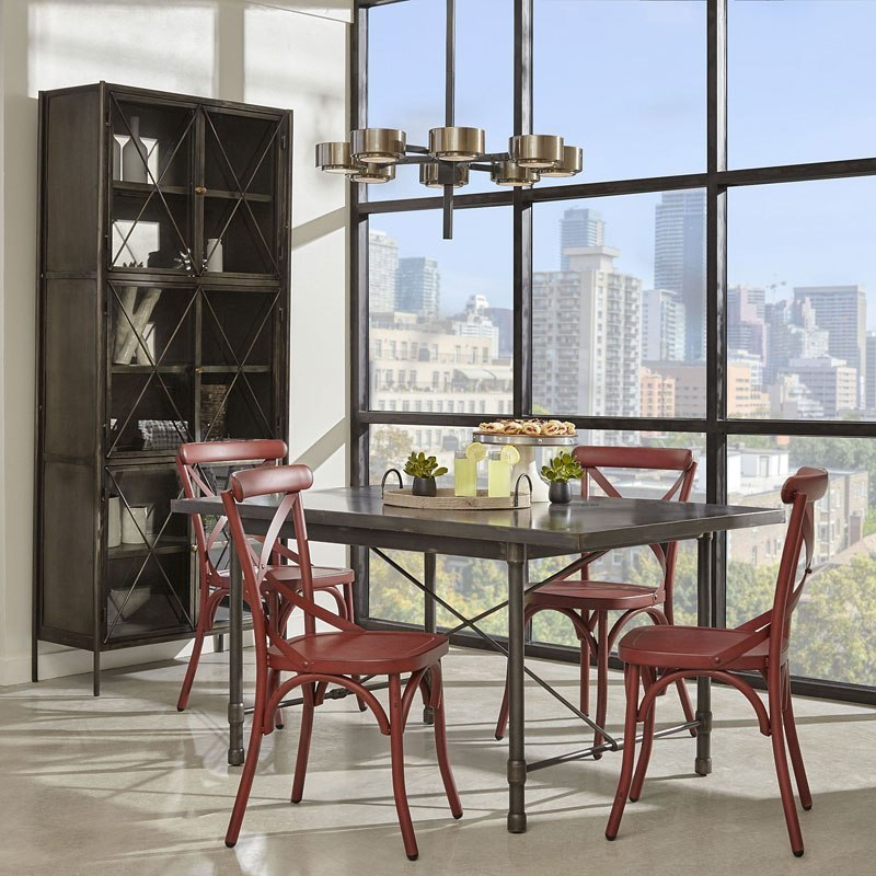 Industrial Metal Top Dining Room Set W/ Red Chairs Pulaski Furniture |  Furniture Cart