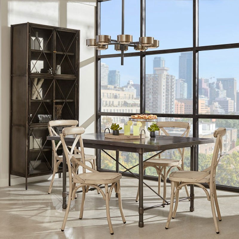 Industrial Metal Top Dining Room Set W White Chairs Pulaski