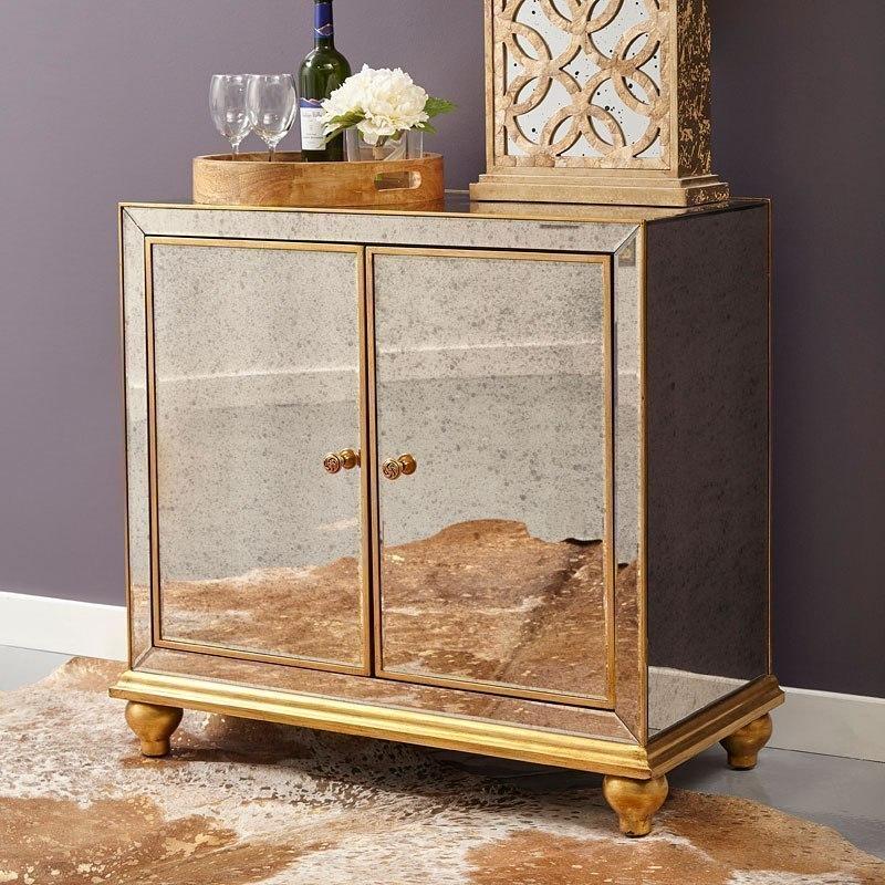 Antique Mirrored Wine Door Cabinet