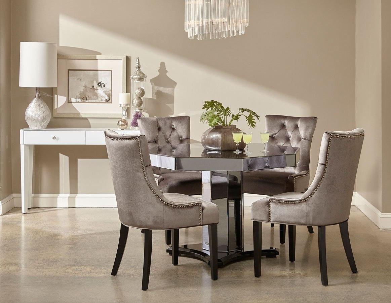 Smoked Mirrored Octagon Dining Room Set