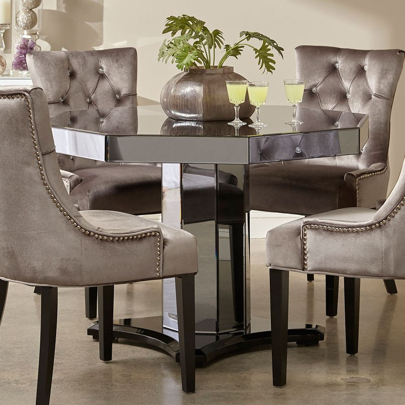 Smoked Mirrored Octagon Dining Table