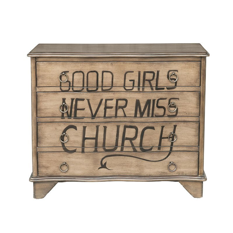 Traditional Styled Distressed Birch Accent Chest