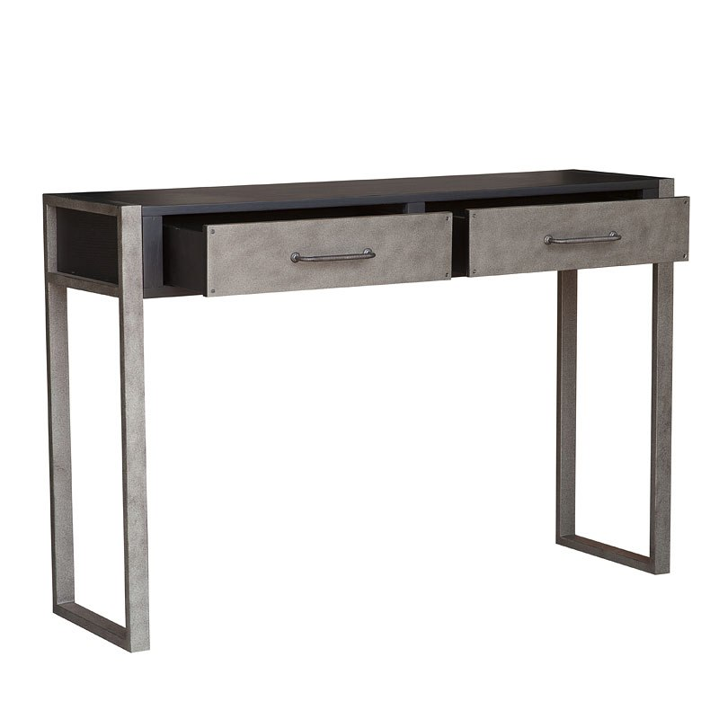 Industrial Style Distressed Black Console Table
