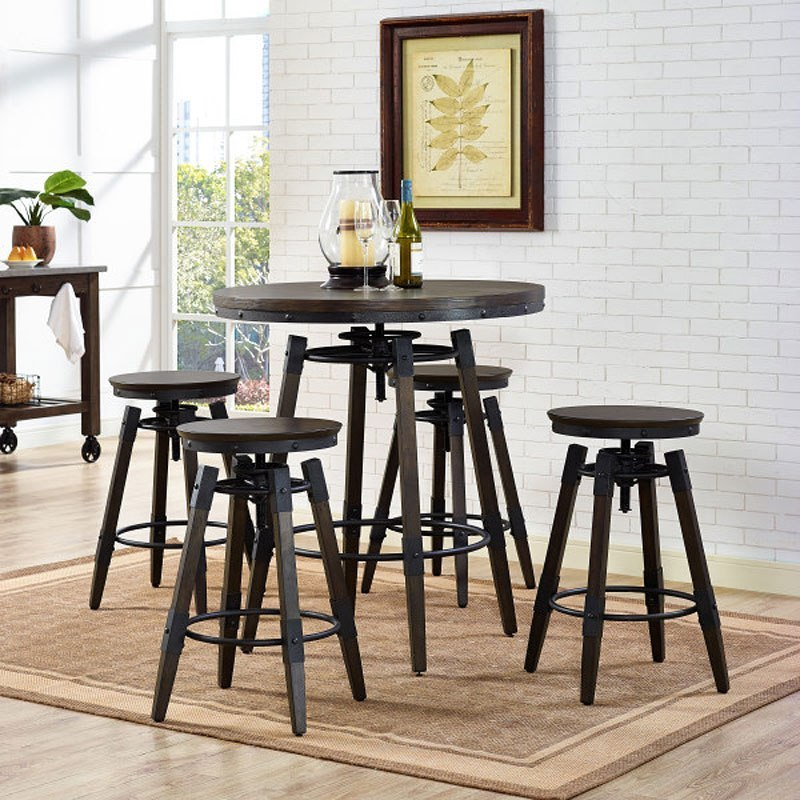 Industrial Adjustable Height Bar Table Set w/ Backless Barstool
