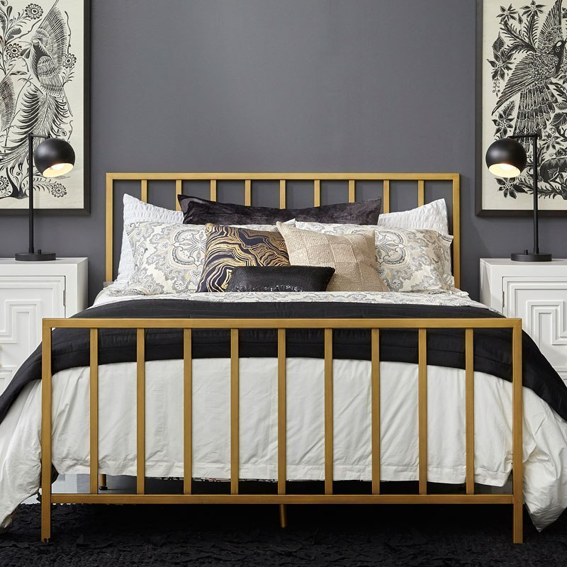 Slat Style Brushed Gold Queen Metal Bed Accentrics Home