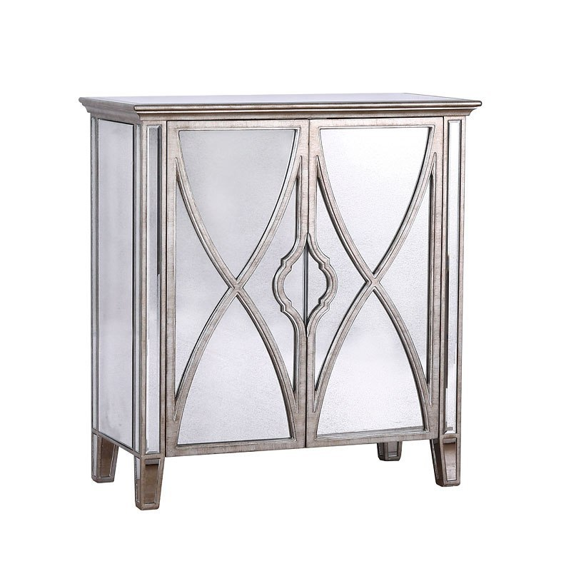 Small Space Silver Frame Mirrored Two Door Chest